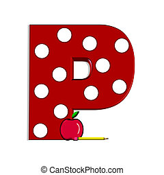 "Alpha Book Learning P - P, in the alphabet set ""Apple for..."