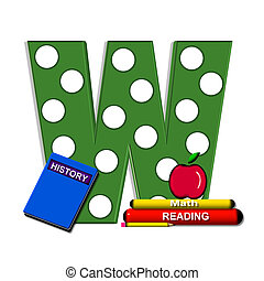 Alpha Book Learning W - W, in the alphabet set Apple for...