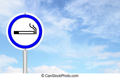 smoking area sign with blue sky blank for text