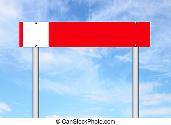 red sign with blue sky background