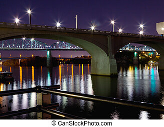 Bridges at Night - A view of three bridges in downtown...