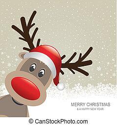reindeer red hat snow snowflake background - reindeer red...
