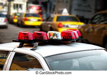 policía, coche, luces