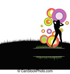 girl with circle in nature vector illustration