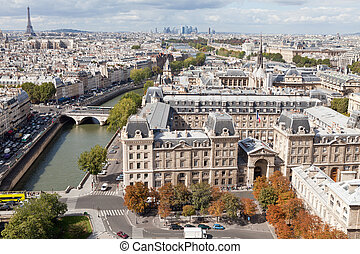 Top view river Seine, downtown, tower Eiffel in Paris France