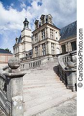 Medieval royal castle Fontainbleau near Paris in France