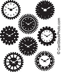 Clock Face in Gears Silhouette Illustration - Time Watch or...