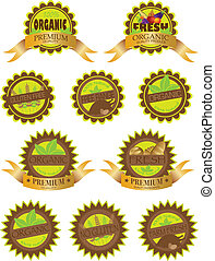 Organic Farm Fresh Labels Illustration - Organic Farm Fresh...