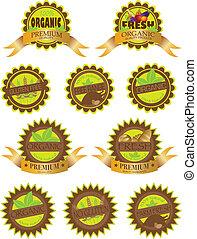 Organic Farm Fresh Labels Illustration - Organic Farm Fresh...