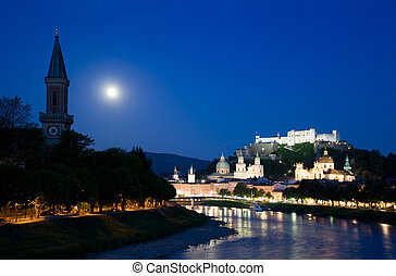 Twilight in Salzburg town