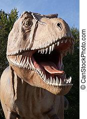 Reptil, Dinosaurio, tyrannosaurus, Rex, verde, árbol,...