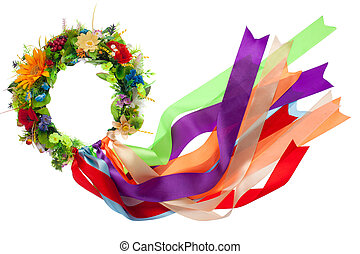 Traditional wreath with flowers and many-colored satin...