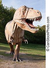 爬行動物, 恐龍, tyrannosaurus, Rex, 綠色, 樹,...
