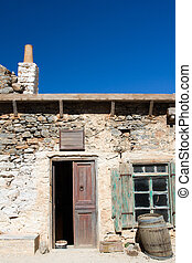 Picturesque old Mediterranean style abandoned lopsided...