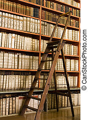 Library with aged books and ladder on the floor