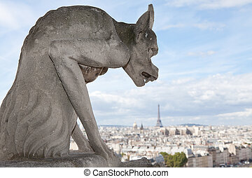 Gargoyle Statue cathedral Notre Dame, top view on tower Eiffel
