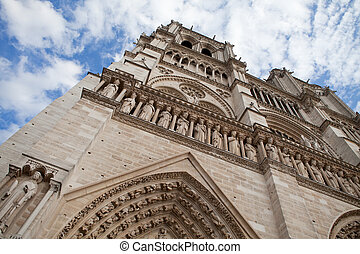 Famous landmark Gothic catholic cathedral Notre-dame on Cite...