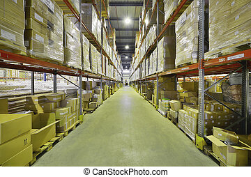 Indoor warehouse with lot of pallet Wide angle photo