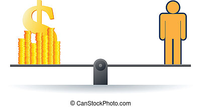 Self Worth - Vector illustration of a human figure on a...