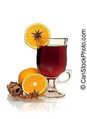 Hot mulled wine with oranges, anise and cinnamon. Isolated...