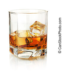 Whiskey glass. Isolated on white with reflection