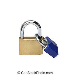 Key locked isolated over white background