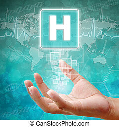 médico, hospitalar, Símbolo, fundo, mão