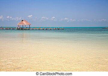 pier on the Isla Contoy, Mexico - wooden pier on the Isla...