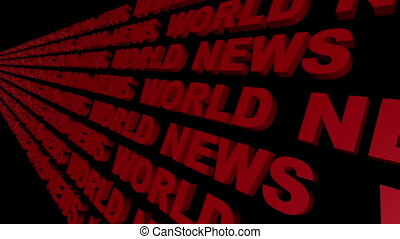 World News Looping Text Angle Four Left to Right Tilted on...