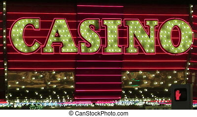 The word Casino in lights, Fremont Street, Las Vegas, Nevada