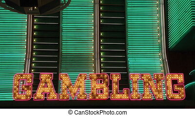 Gambling in neon lights, Fremont Street, Las Vegas, Nevada