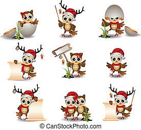 cute owl christmas cartoon set - vector illustration of cute...