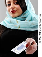 Middle eastern woman portrait - Arabic woman with shopping...