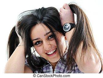Silly hair girl - Silly hair holding girl