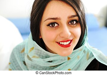 Middle eastern woman portrait - Happy sensual Arabic woman