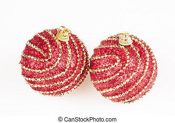 Red Christmas Balls on Snow