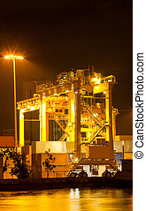 Heavy Industry - Mobility Crane car in commercial container...
