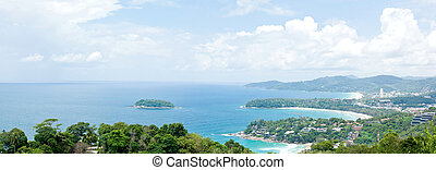 Panorama Aerial view of tropical beach - Panorama Aerial...