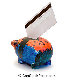 Bank Card - A bank card placed in a painted piggy bank,...