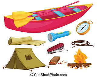 various camping objects - illustration of various camping...