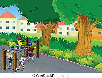 kids - illustration of kids playing game in a beautiful...