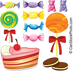 various sweets - illustration of various sweets on a white...