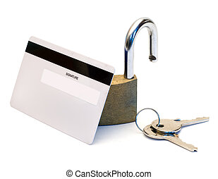 Bank Security - Back of a bank card with an open padlock...