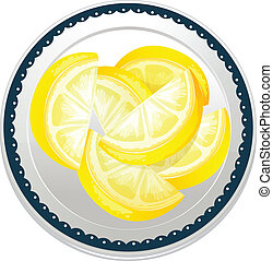 lemon slices - illustration of lemon slices on a white...