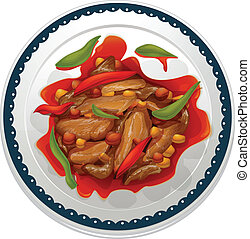 a chilli dip - illustration of a chilli dip on a white...