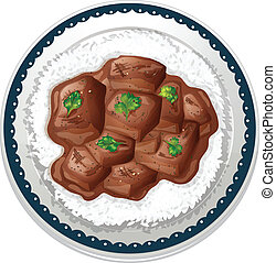 beef and rice - illustration of beef and rice on a white...
