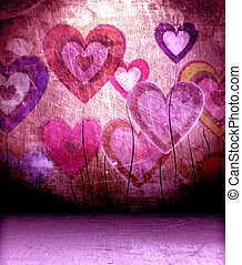 old wall and floor - empty interior with hearts on the wall...