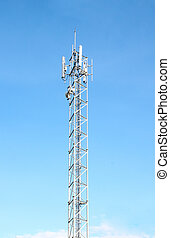mobile telecommunication tower with blue sky