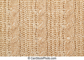 Knit woolen texture - Fabric beige knit woolen material with...