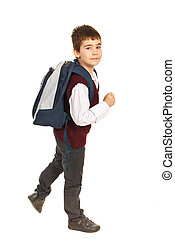 Walking school boy in a hurry - Walking school boy being in...